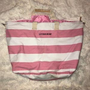 PINK 💗 and White Striped Victoria's Secret Bag